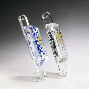 Lucite Wedding Glass Mezuzahs